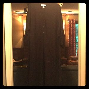 LOFT blouson sleeve blk midi shirt dress/tie belt